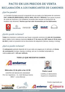 Charla informativa: reclamación a los fabricantes de camiones @ CENTRO DE NEGOCIOS ANDAMUR | Lorca | Región de Murcia | España
